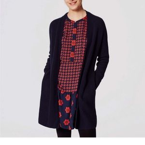 Loft Navy Belted Ribbed Open Cardigan